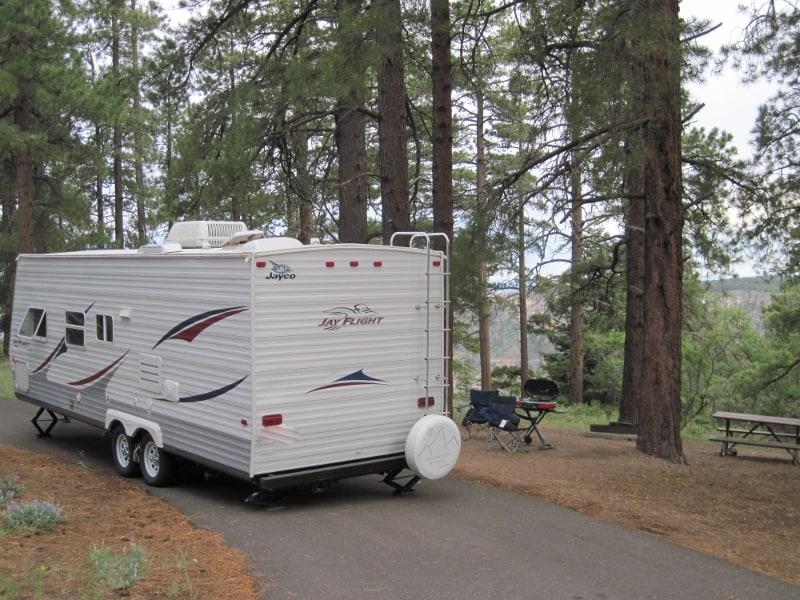 RV set up at North Rim Grand Canyon