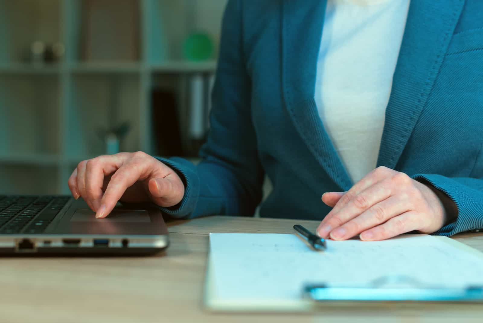 woman working on laptop in retirement business