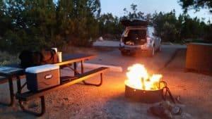Car camping campfire