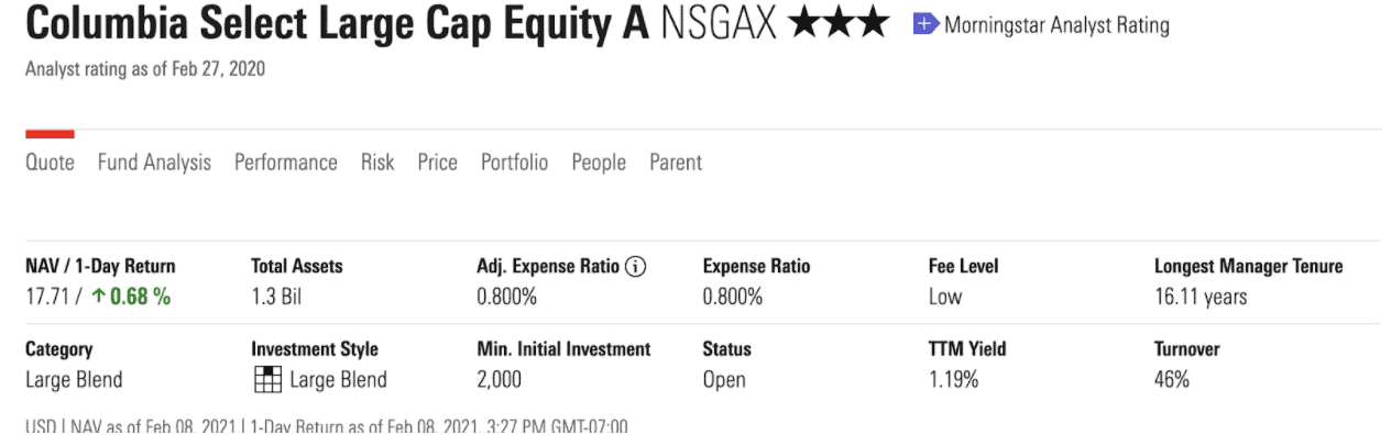 Finding NSGAX expense ratio